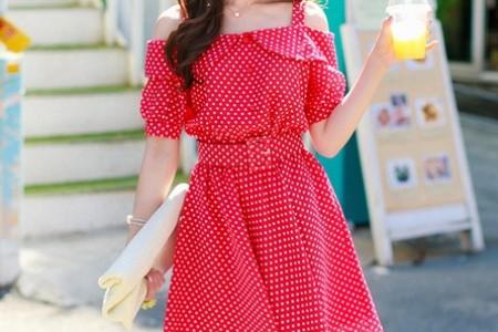 甜美复古圆点连衣裙